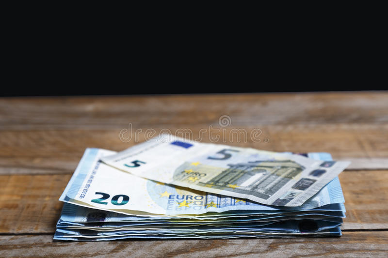 Amounts of euro banknotes stock photography