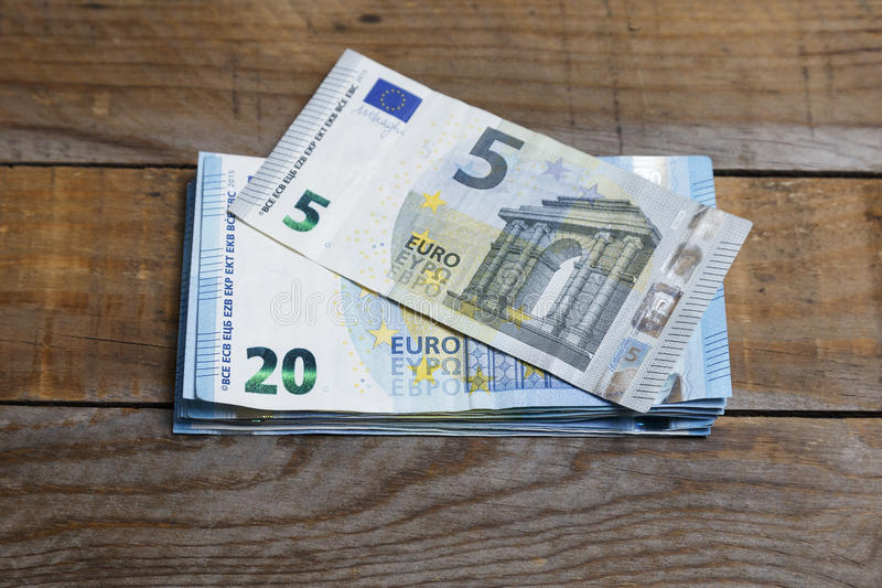 Amounts of euro banknotes stock photo