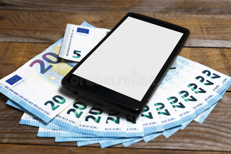 Amounts of euro banknotes royalty free stock images