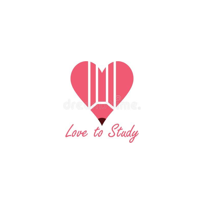 Amour à étudier avec le vecteur de logo de crayon illustration libre de droits