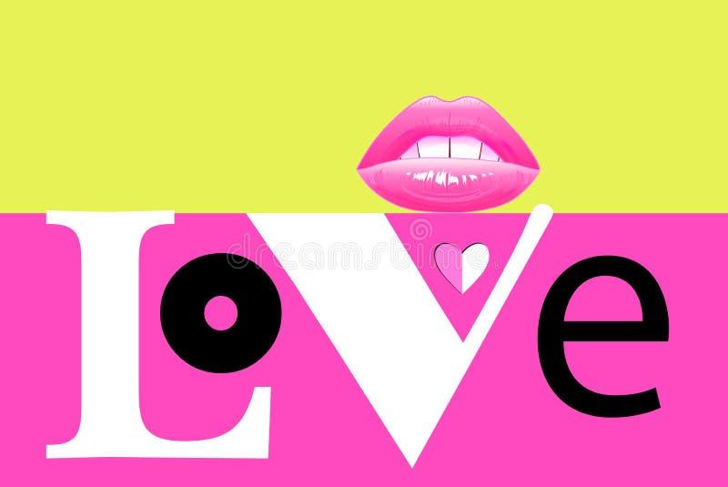 Amour à la mode d'inscription de vecteur de résumé bel image libre de droits