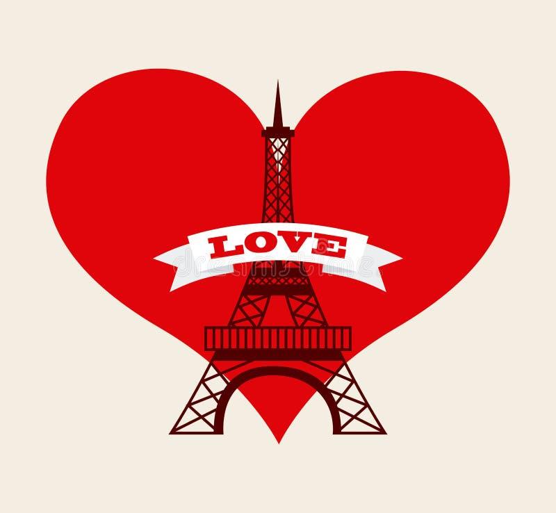 Amour à Paris illustration stock
