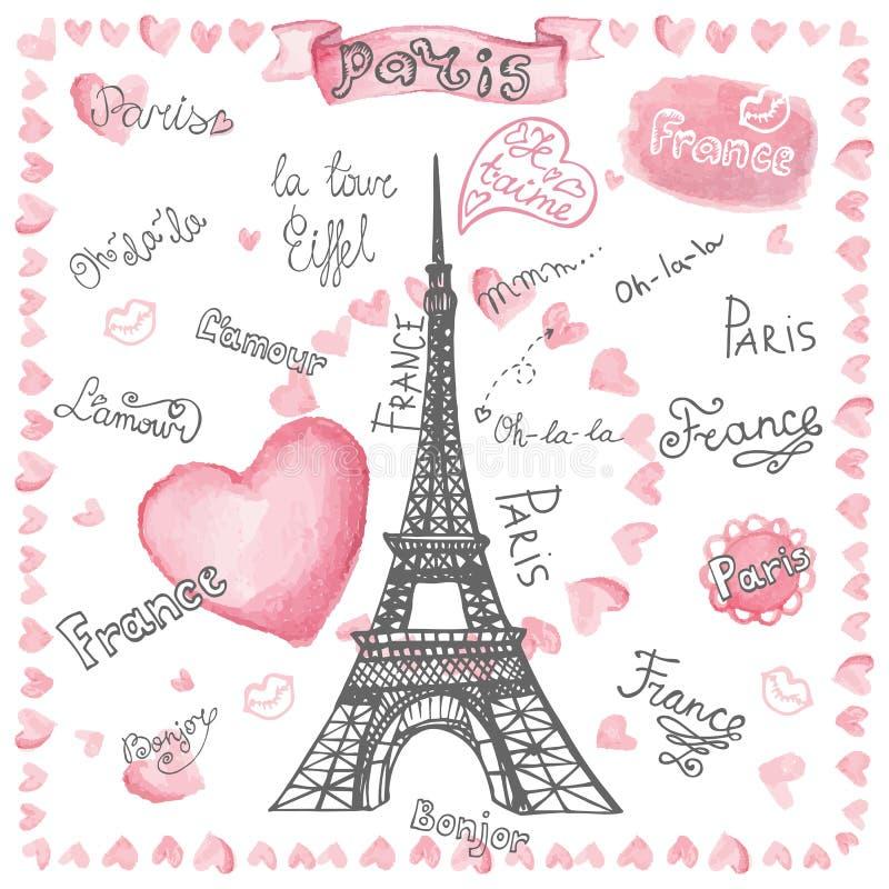 Amour à Paris Coeurs d'aquarelle, marquant avec des lettres Main illustration de vecteur