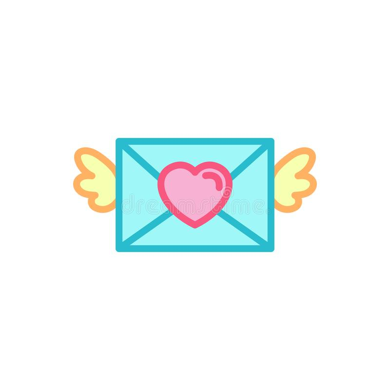 Amour avec l'icône à ailes de lettre d'amour de courrier Ligne style simple Logo Template Design d'illustration de coeur illustration stock