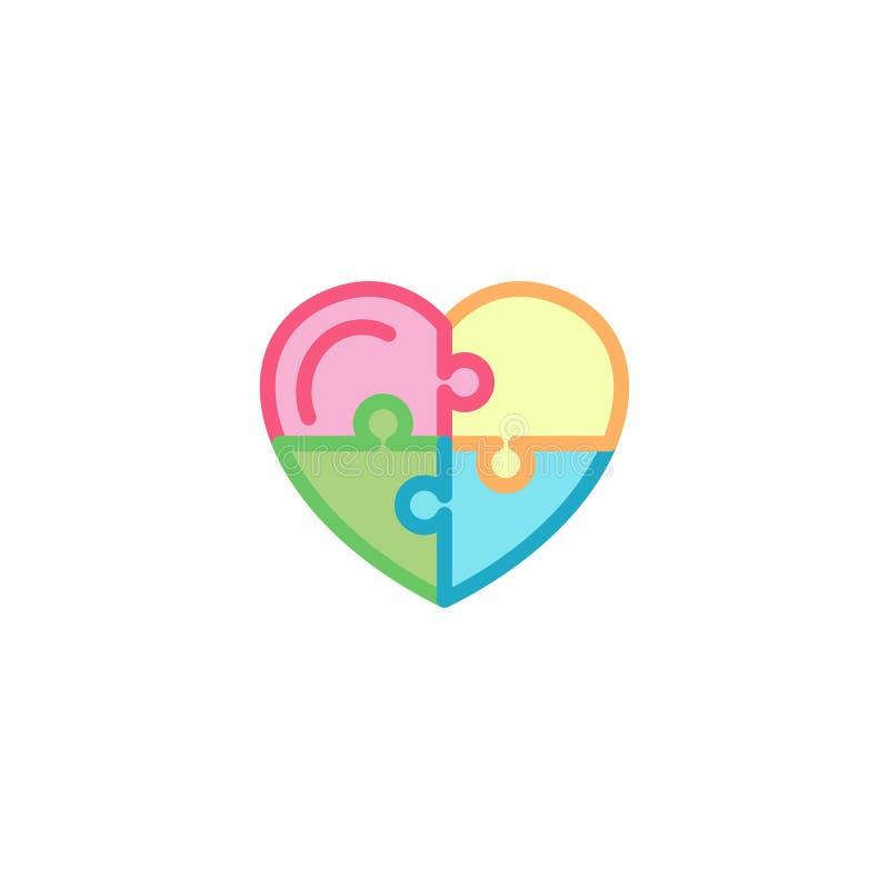 Amour avec l'icône de puzzle Ligne style simple Logo Template Design d'illustration de coeur illustration de vecteur
