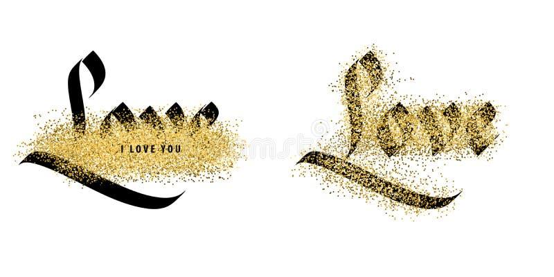Amour, calligraphie de vintage illustration libre de droits