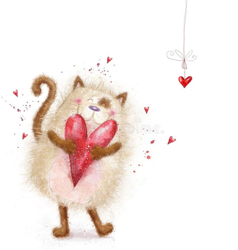 Amour Chat mignon avec le coeur rouge Chat dans l'amour Carte postale de jour de valentines Fond d'amour Je t'aime Invitatnd de r illustration de vecteur