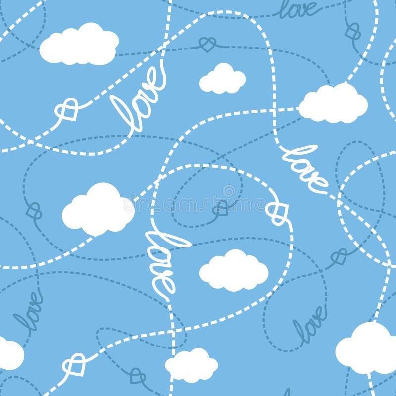 Amour, coeurs et modèle sans couture de nuages illustration libre de droits