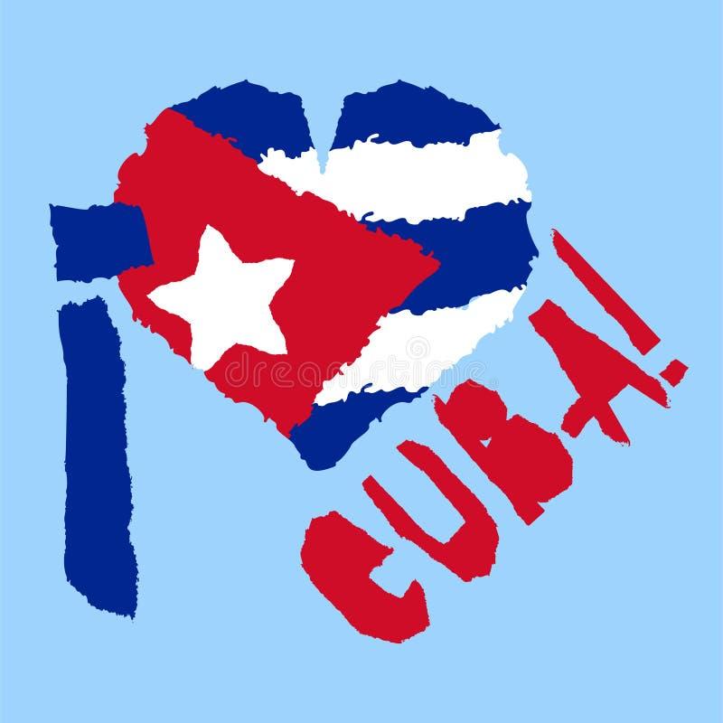 Amour Cuba, Amérique Drapeau national de vintage en silhouette de style grunge de papier de texture déchiré par coeur Fond de Jou illustration de vecteur