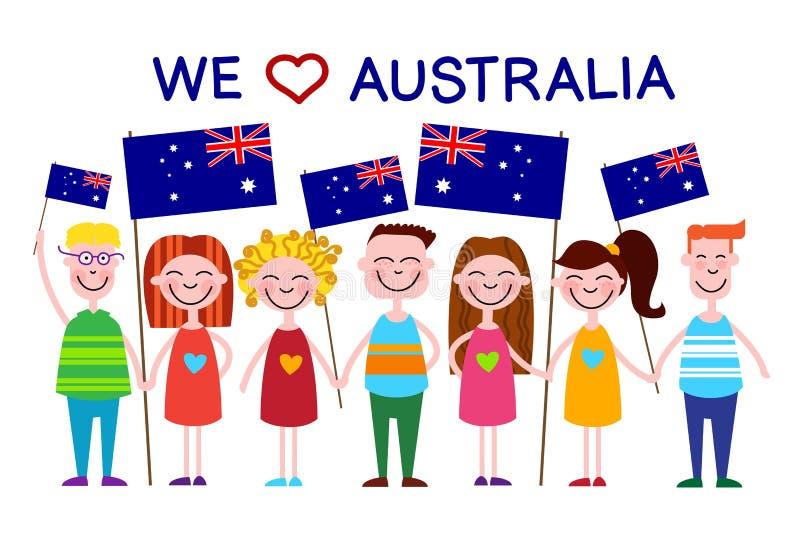 Amour d'enfants d'enfants de drapeau national de jour d'Australie illustration stock