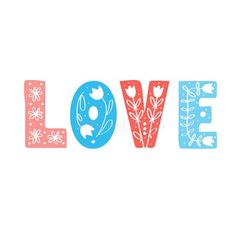 Amour dans le style scandinave folklorique illustration libre de droits