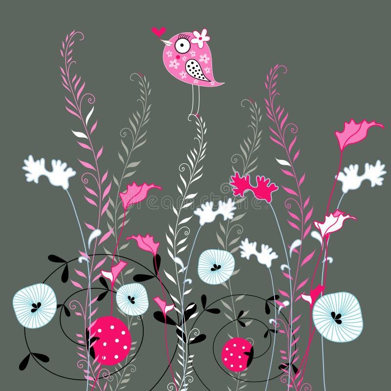 Amour de centrale et d'oiseau illustration de vecteur