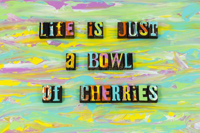 Amour de cerises de cuvette de la vie bon grand apprécier le type vivant d'impression typographique illustration stock