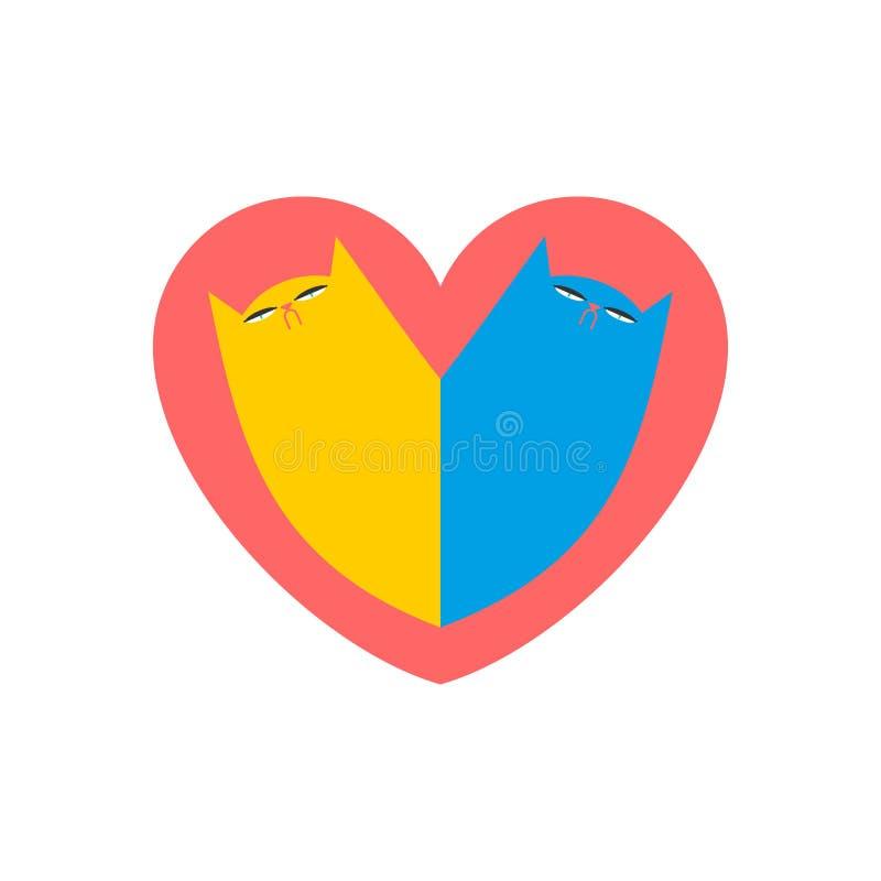 Amour de chat Deux chats au coeur Illustration mignonne de vecteur illustration stock
