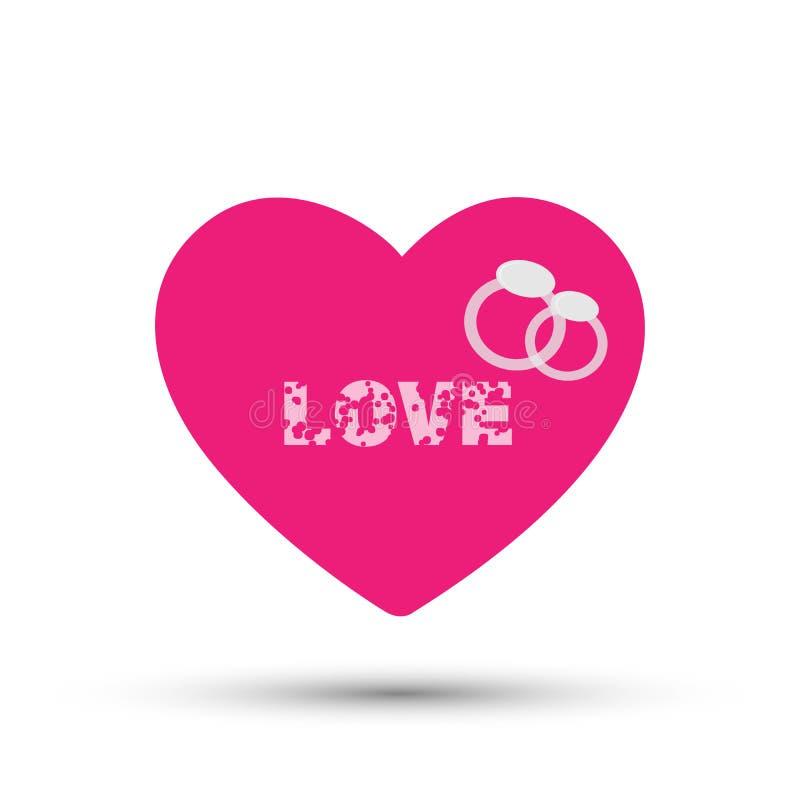 Amour de coeur avec l'icône de logo d'anneaux pour la valentine sur le fond blanc illustration libre de droits