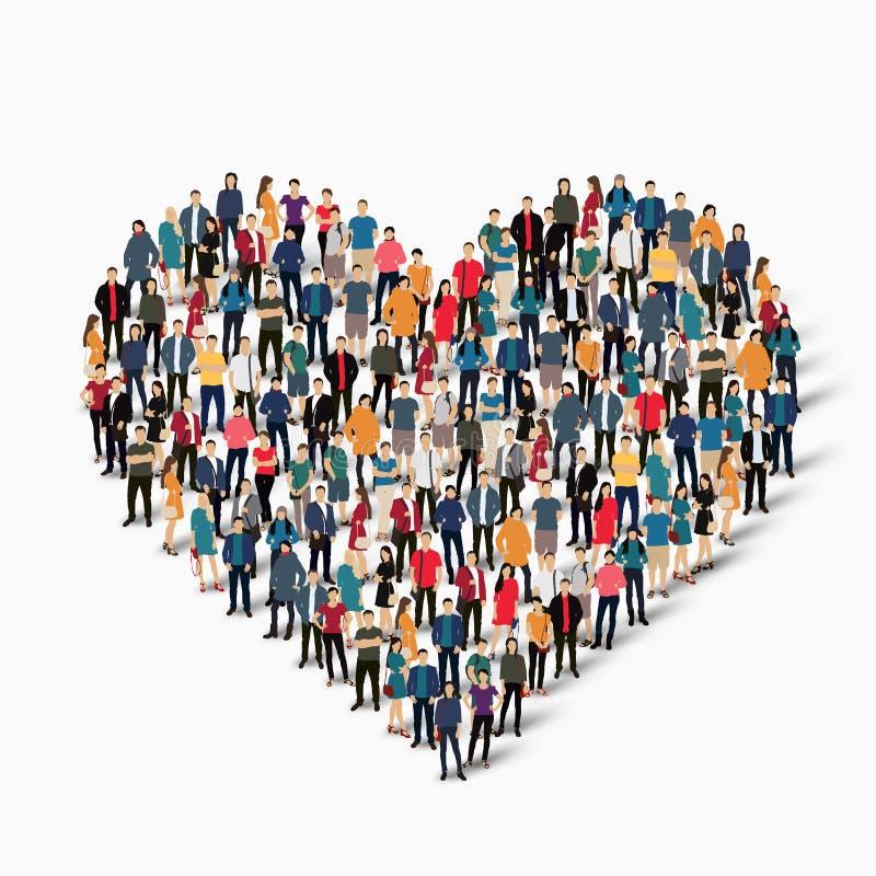 Amour de coeur de forme de personnes de groupe image stock