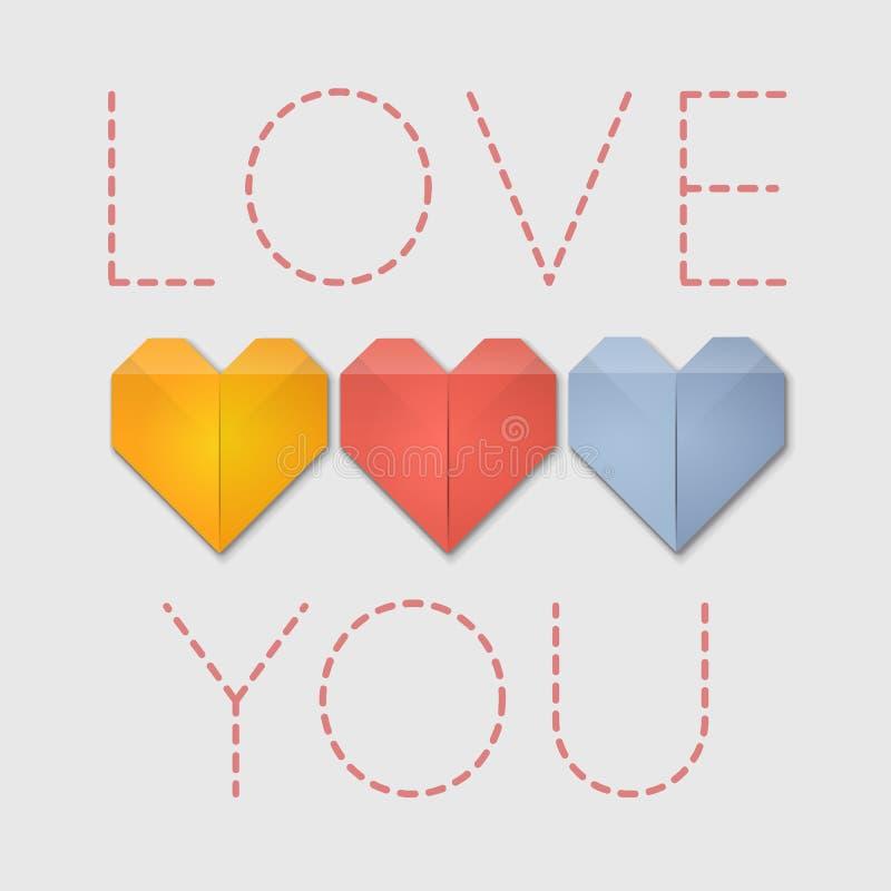 Amour de coeurs d'origami vous carte de voeux illustration libre de droits