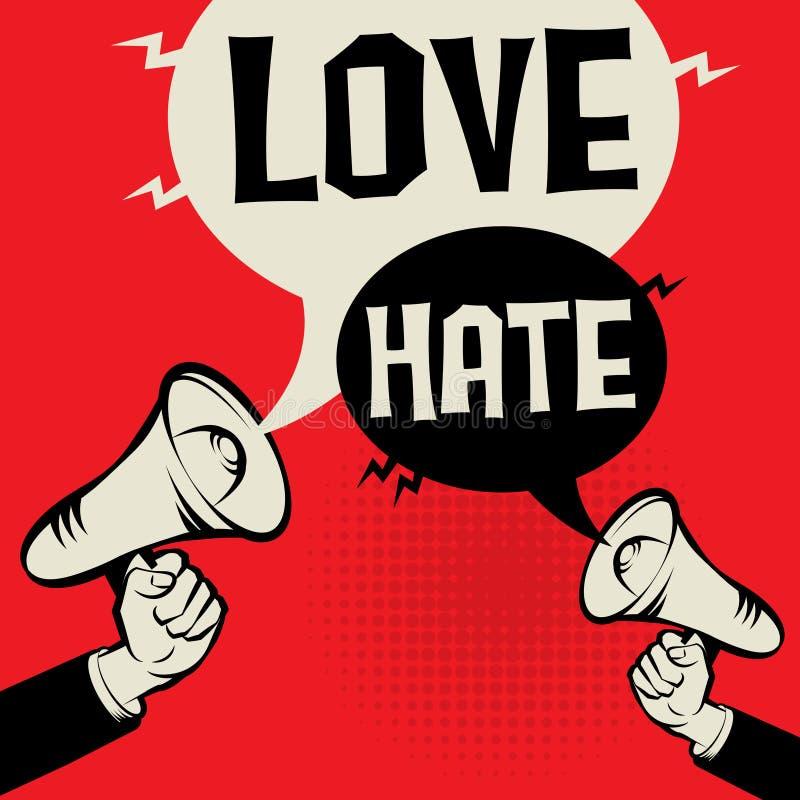 Amour de concept d'affaires de main de mégaphone contre la haine illustration libre de droits