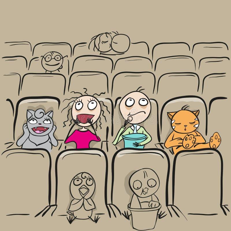 Amour de couples dans le film de observation de théâtre de cinéma illustration libre de droits