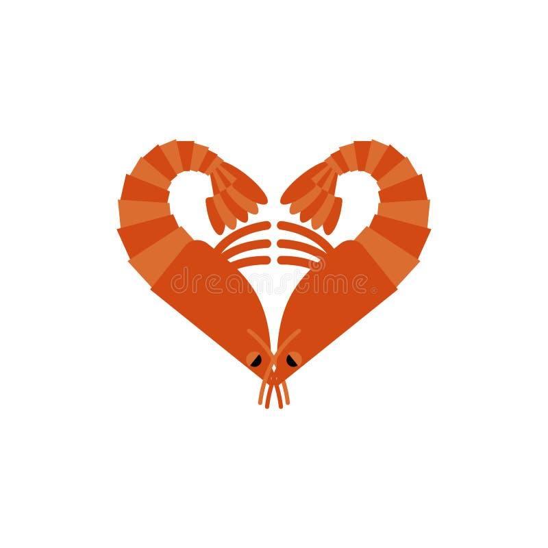 Amour de crevettes d'isolement Coeur du plancton sur le fond blanc illustration stock