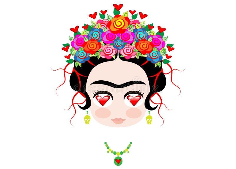 Amour de Frida Kahlo de bébé d'Emoji avec la couronne et des fleurs colorées, d'isolement illustration libre de droits
