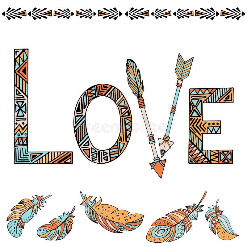 Amour de lettrage d'affiche de typographie et modèles ethniques illustration stock
