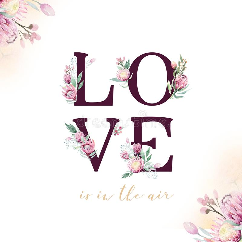 Amour de mariage de scintillement d'or Polices alphabétiques d'or d'isolement et nombres sur le fond blanc Texte l'épousant flora illustration de vecteur