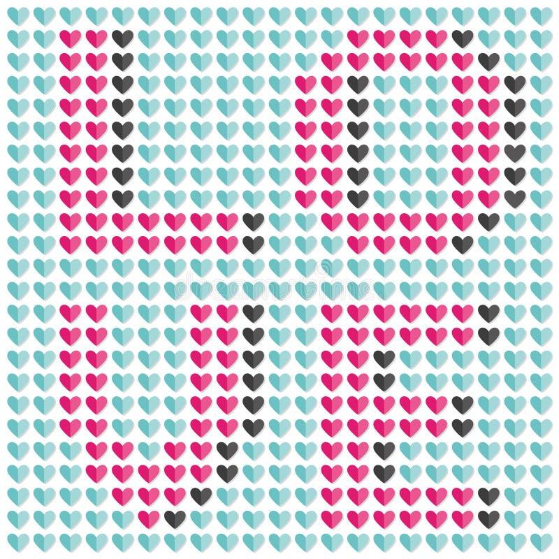 Amour de mot de mosaïque fait à partir de petits coeurs Configuration heureuse sans joint de famille du Pixel art illustration stock