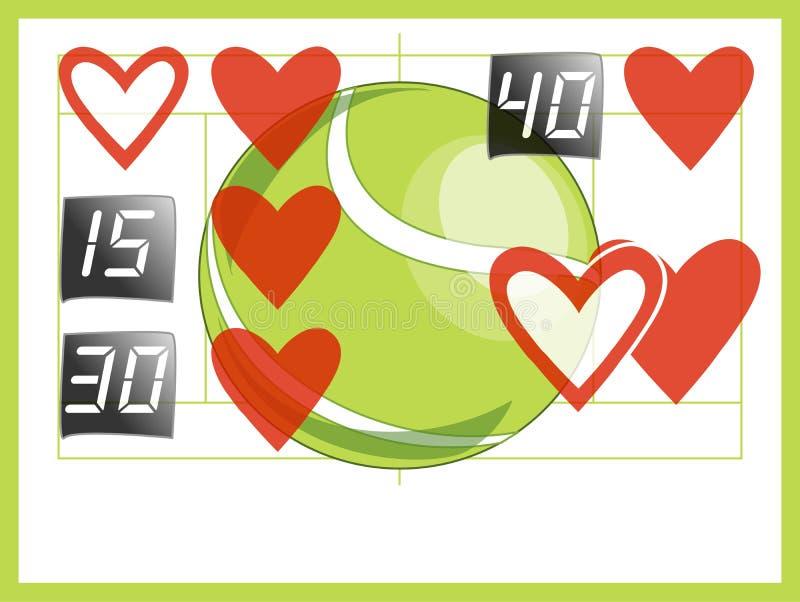 Amour de score de tennis pour assortir la valentine illustration stock