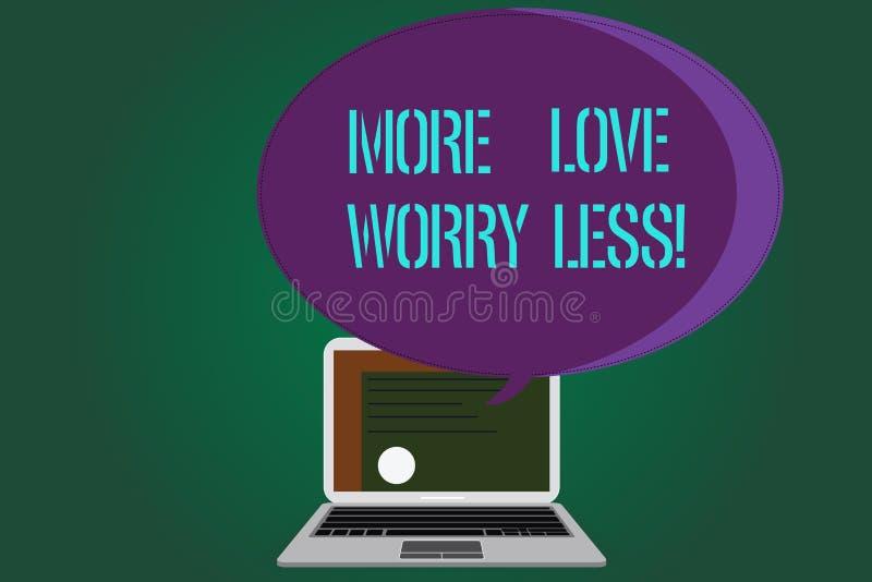 Amour des textes d'écriture de Word plus inquiétude moins Le concept d'affaires pour font être une bonne motivation d'attitude ai illustration stock