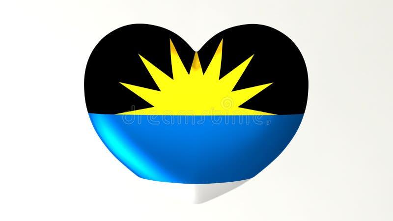 Amour en forme de coeur Antigua-et-Barbuda de l'illustration I du drapeau 3D illustration libre de droits