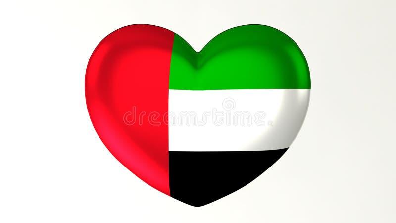 Amour en forme de coeur Emirats Arabes Unis de l'illustration I du drapeau 3D illustration stock