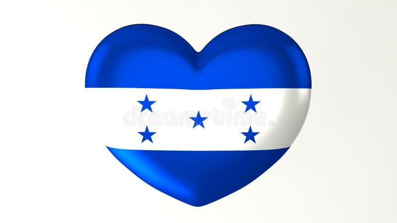 Amour en forme de coeur Honduras de l'illustration I du drapeau 3D illustration stock