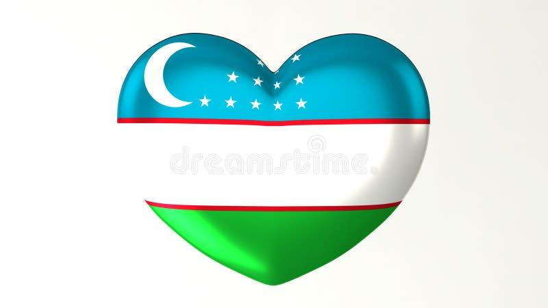 Amour en forme de coeur l'Ouzbékistan de l'illustration I du drapeau 3D illustration libre de droits