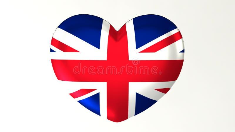 Amour en forme de coeur Royaume-Uni de l'illustration I du drapeau 3D illustration de vecteur