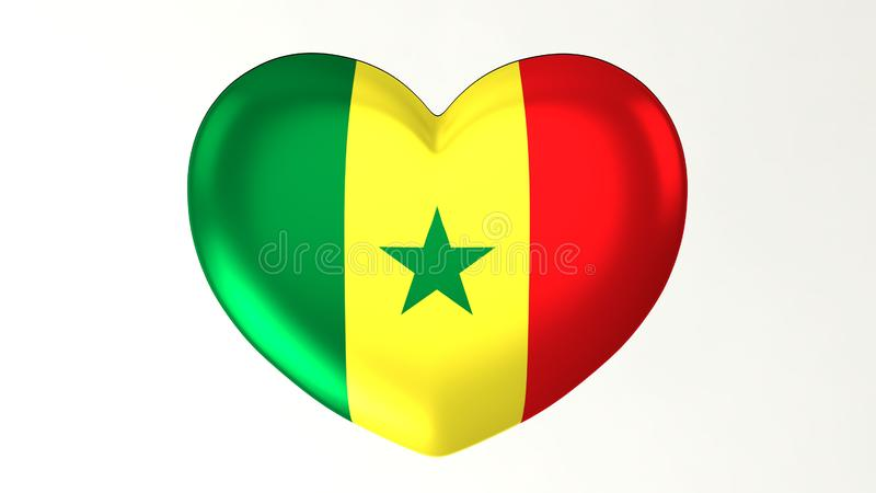 Amour en forme de coeur Sénégal de l'illustration I du drapeau 3D illustration stock