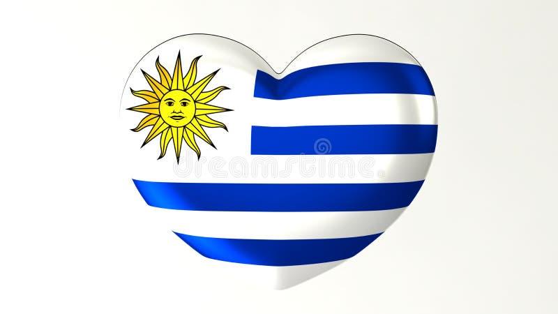 Amour en forme de coeur Uruguay de l'illustration I du drapeau 3D illustration stock