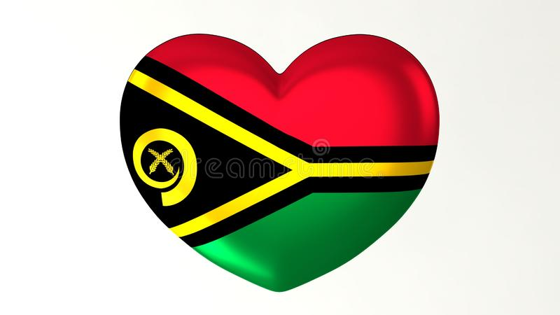 Amour en forme de coeur Vanuatu de l'illustration I du drapeau 3D illustration stock