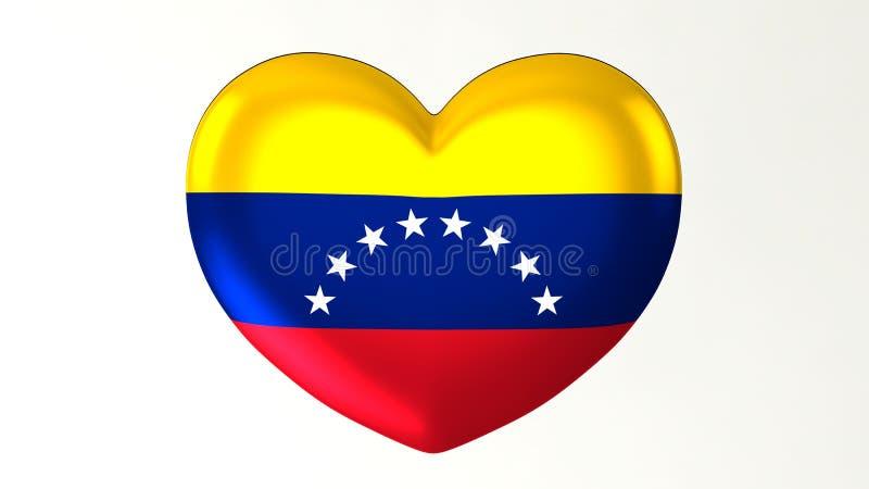 Amour en forme de coeur Venezuela de l'illustration I du drapeau 3D illustration stock