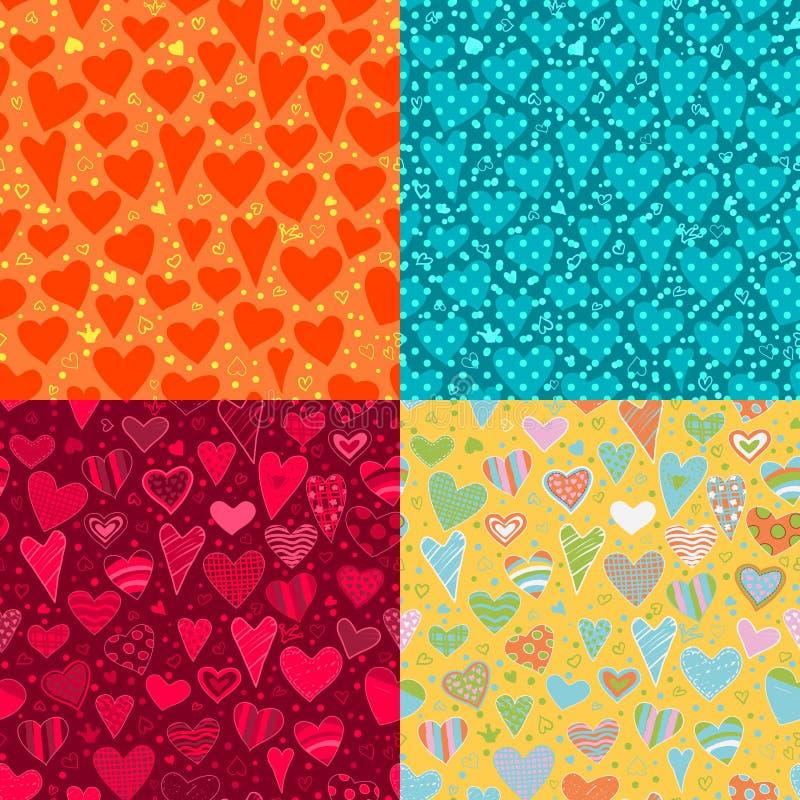 Amour. ensemble de fond de quatre coeurs illustration libre de droits