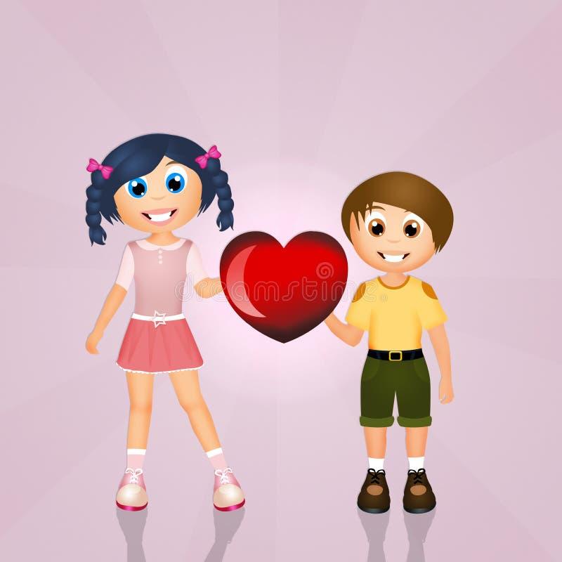 Amour entre le frère et la soeur illustration libre de droits