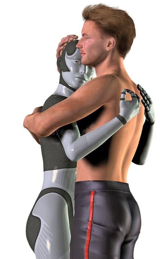 Amour entre un homme et une femelle robotique, illustration 3d illustration de vecteur