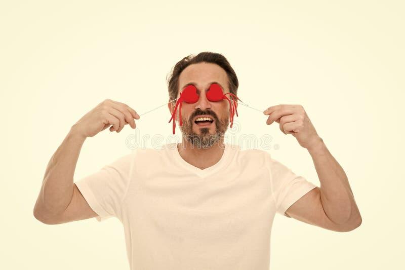 Amour et concept romantique de sentiments Attribut de coeur de valentine Pr?sent de cadeau de coeur Coeur barbu de prise de hippi photo libre de droits