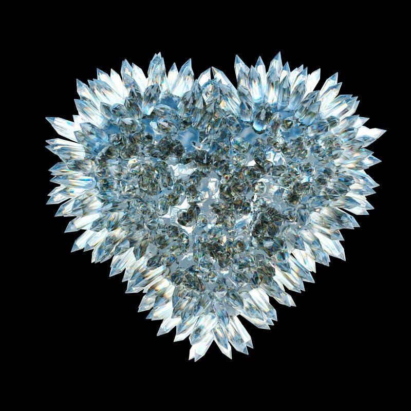 Amour et jalousie pointus : forme en cristal de coeur illustration libre de droits