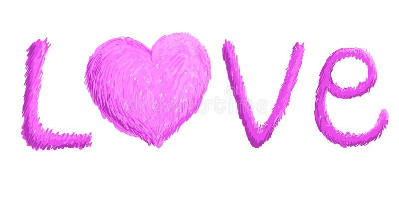 Amour fait main et coeur rose signe illustration stock