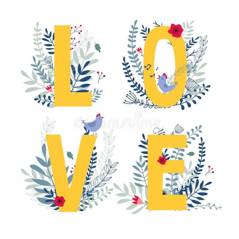 Amour floral de mot illustration de vecteur