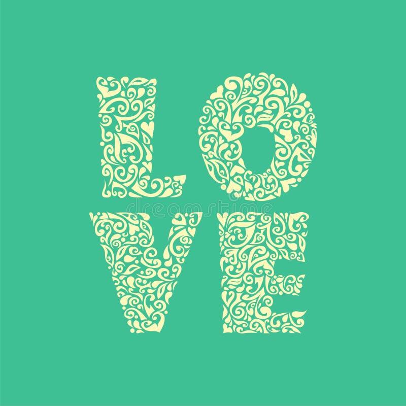 Amour floral de mot de vecteur illustration de vecteur