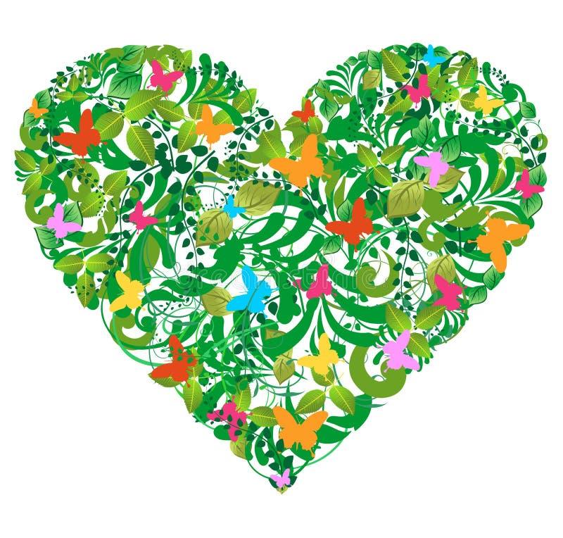 Amour floral vert de source et d'été illustration stock