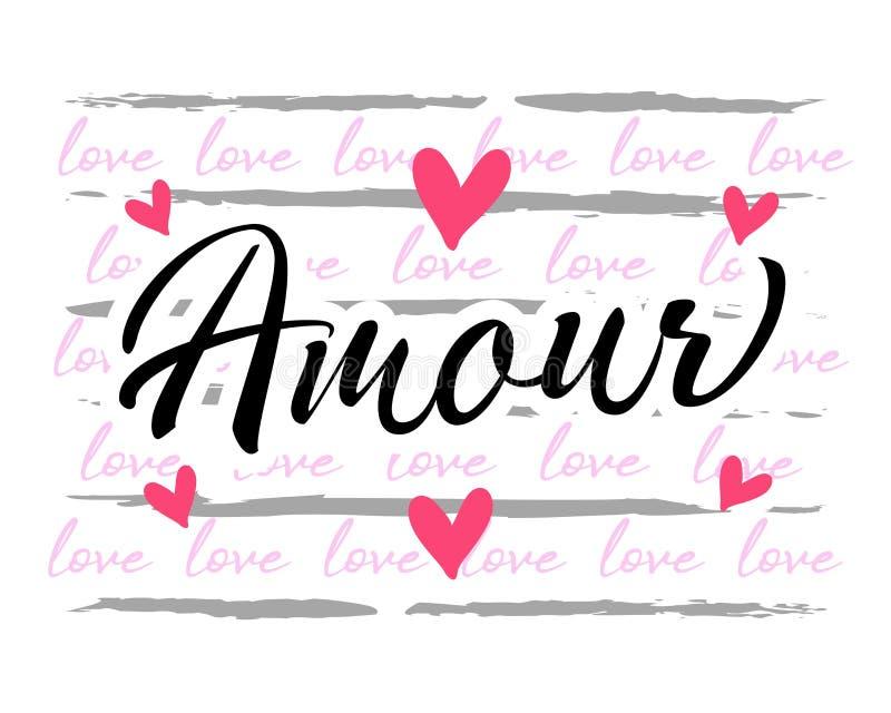 Amour France, diseño gráfico de amor para ropa ilustración del vector