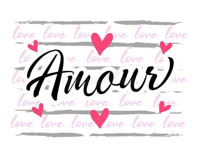 Amour France, Love graphic design for apparel. Amour France, Love graphic design. French text - Amour printed t-shirt for wedding party. Valentines day greeting vector illustration